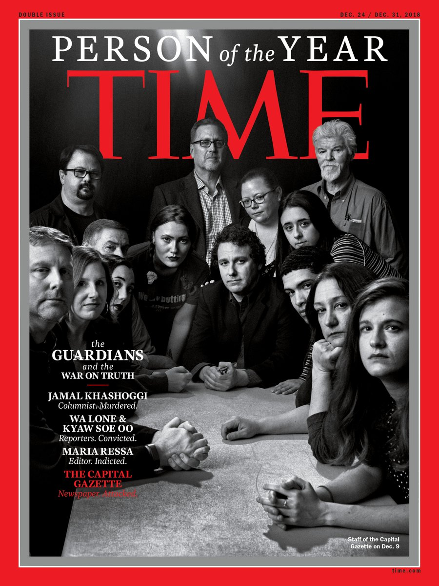 """The Guardians"" - including five murdered Maryland journalists - are Time's 2018 Person of the Year. Editor-in-chief Felsenthal: They were people 'who have taken great risks in pursuit of greater truths."""