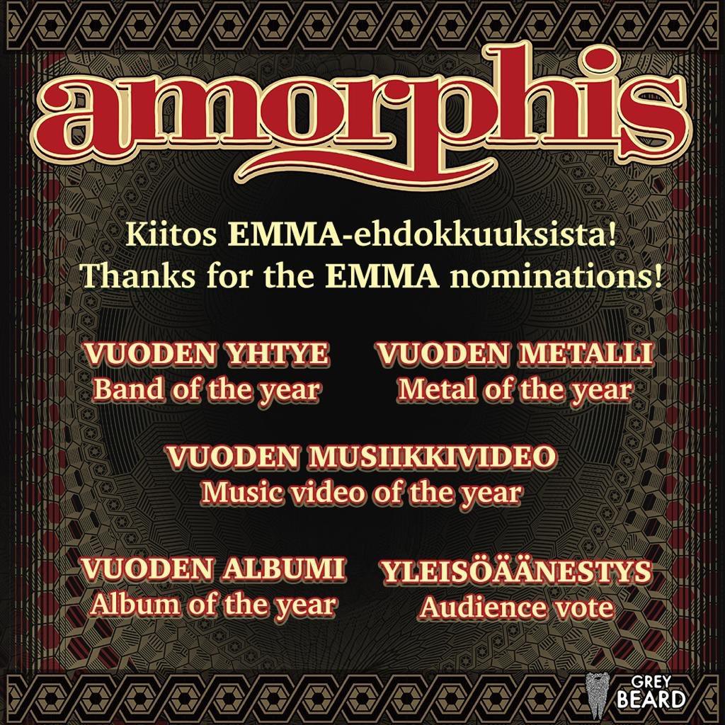🇫🇮 Thanks for the Emma, Finnish Grammy, nominations! @emma_gaala #amorphis #queenoftime #emmagaala2019 #greybeardcm https://t.co/ty17Tismy2