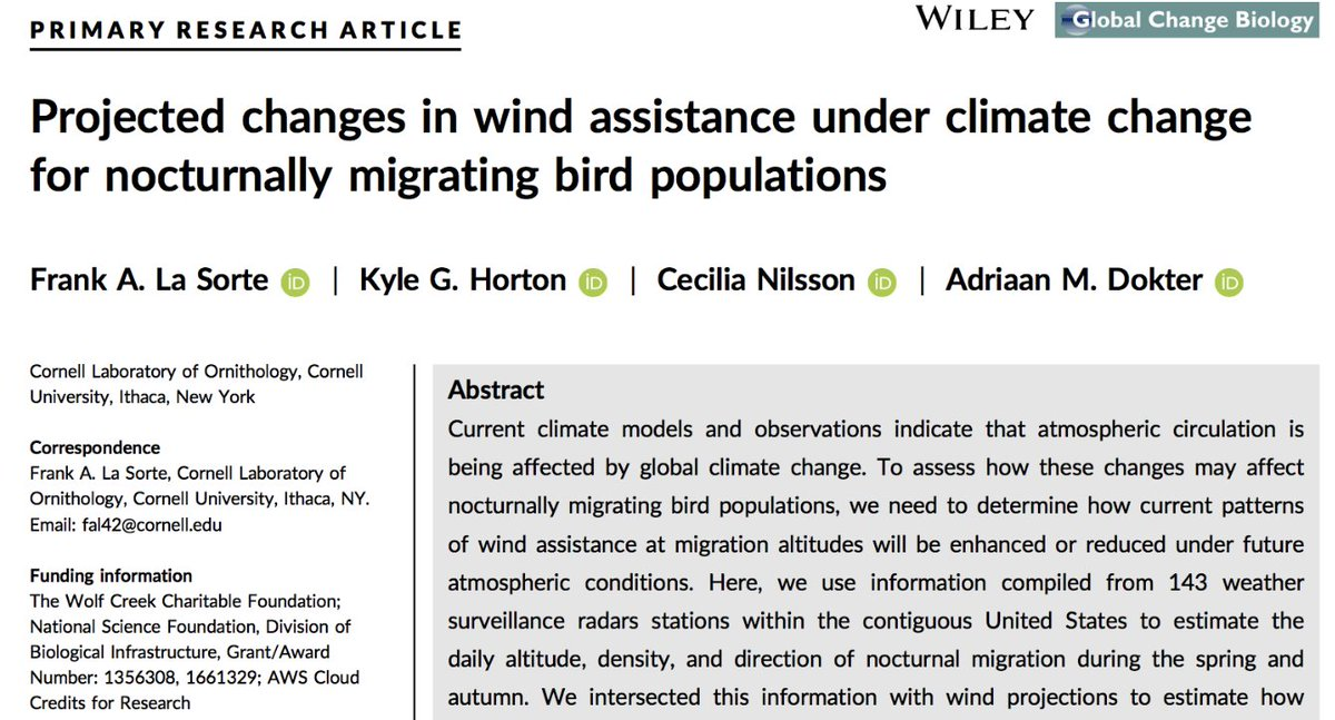 Taking to flight under climate change. See how wind projections during this century under global climate change will impact migrant wind assistance. Just out in @GlobalChangeBio with @cnilsson709 and @AdriaanDokter. #ornithology #aeroecology bit.ly/2EfzGhi