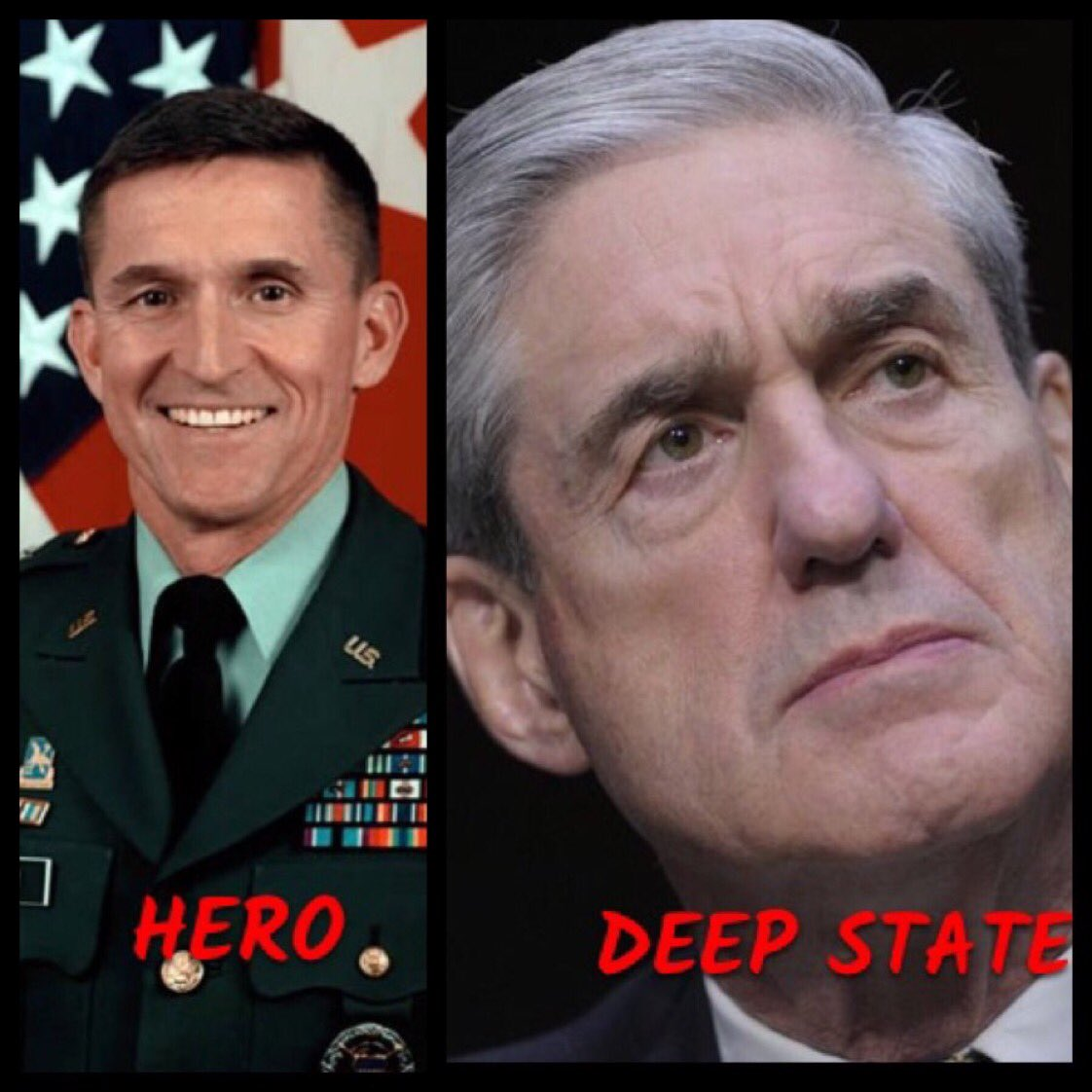 @harjo111 @rratkinson @GenFlynn 🚨 One Thing Is Not Like The Other🚨 Oh yeah I see it now! The guy on the left is innocent( @GenFlynn) and the guy on the right (#Mueller) is guilty Put another way: General Flynn is a hero and Mueller is a zero! #ClearFlynnNow #18December2018