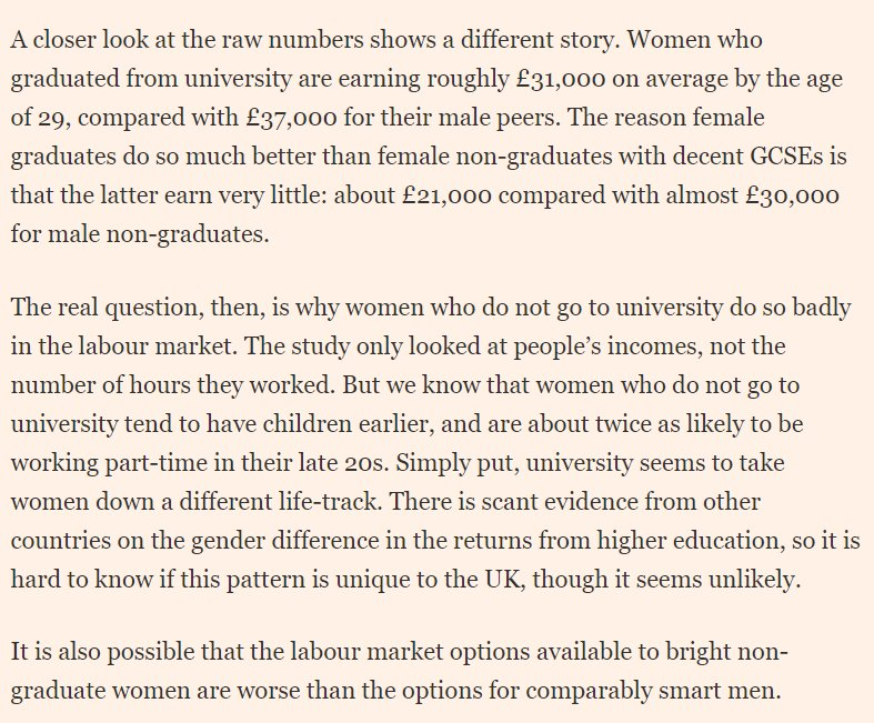 Some rare news of women winning? Women who go to uni enjoy 26% higher earnings by age 29 than women with same grades and backgrounds who dont. For men, its just 6%. So are women better at choosing good degrees? Nop... you need to look under the bonnet ft.com/content/13607f…