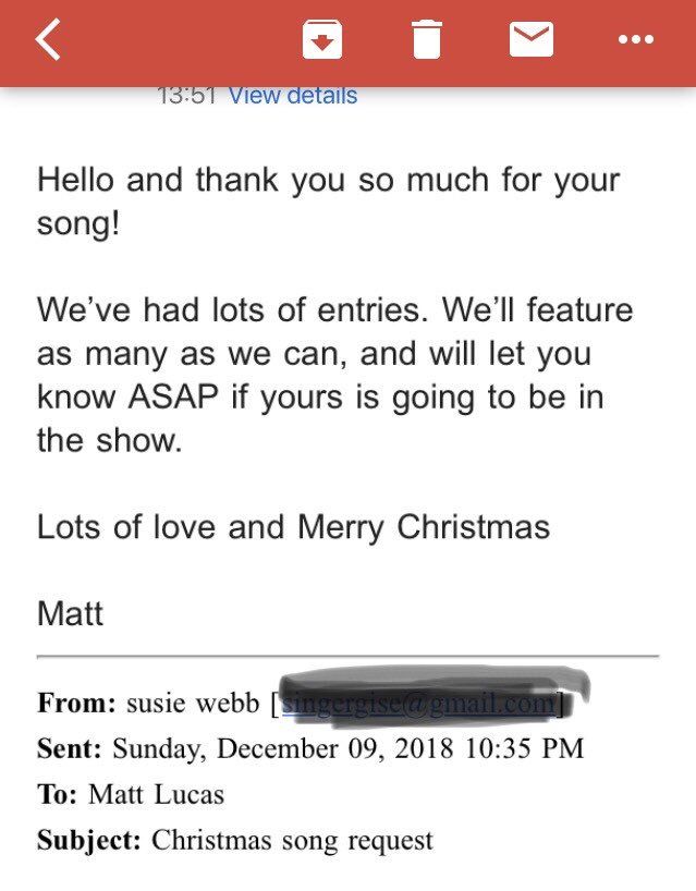 Soul'd As Seen are super excited to have received a message from @RealMattLucas - we'll all be tuning in on Christmas Day with all our sparkly bits crossed!!!! #christmaslullaby #souldasseen #welshsingers