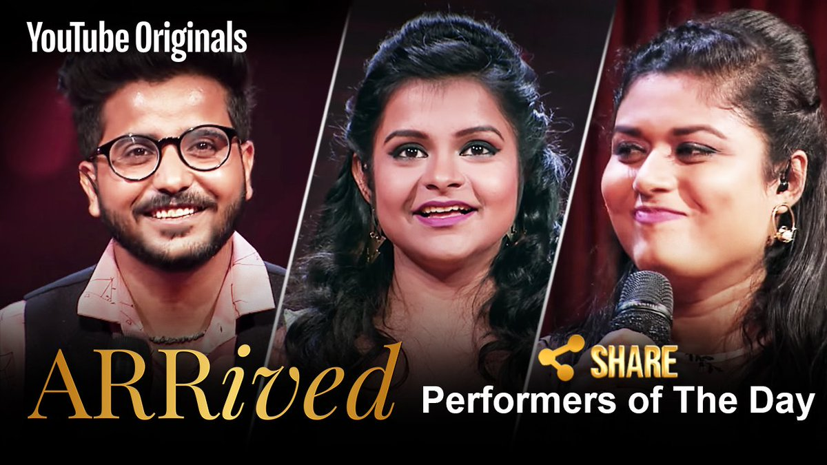 Congratulations to Swagat, Antara and Amrita on earning the 'Share Button' from me for their unique performance.  https://t.co/2PsWhQL3u8  #ARRivedSeries  @singer_shaan @ClintonCerejo @VidyaVox   @MyQyuki @YouTubeIndia  #YouTubeOriginals #Godbless