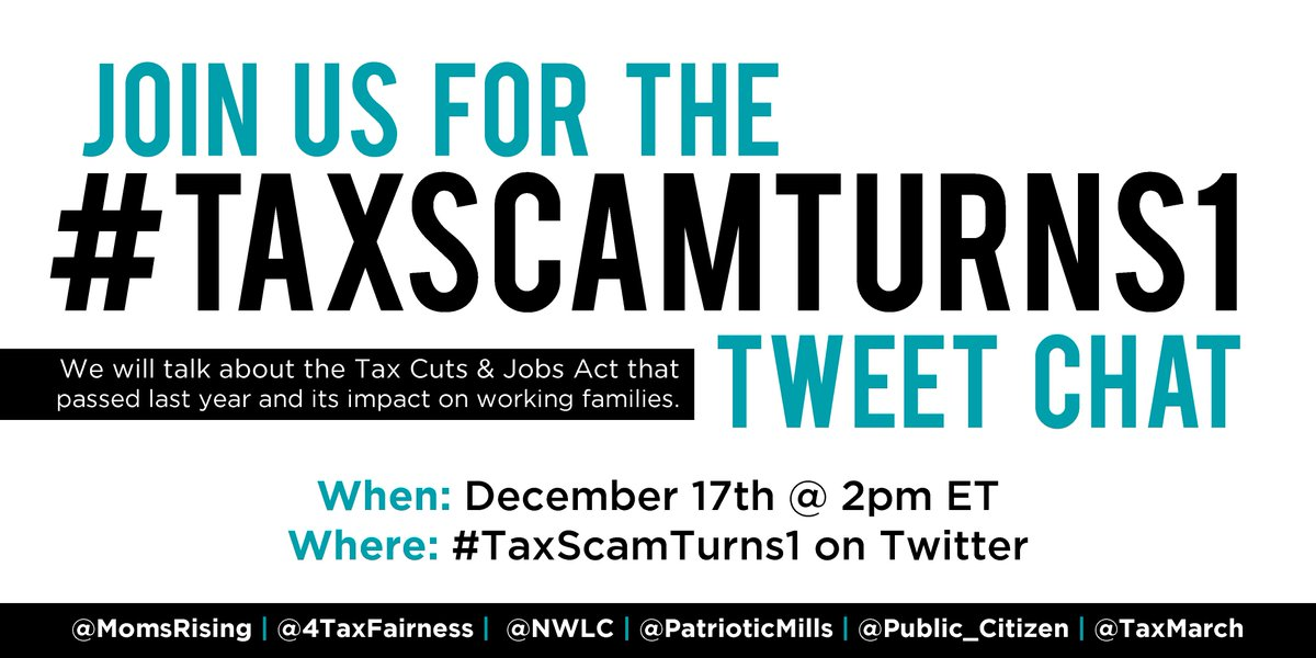 When the #GOPTaxScam passed, @GOP promised it would create jobs and help working families. Has it kept that promise? (Spoiler: the answer is no!). Find out more during the #TaxScamTurns1 Tweet Chat, Dec 17th @ 2pmET.