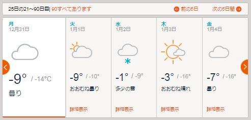 年末のモスクワ,平均するとやはり-10℃程なのかな.