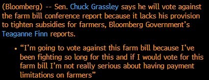 Iowa Senator @ChuckGrassley will vote against Farm Bill, @Teaganne_Finn reports. More on @TheTerminal