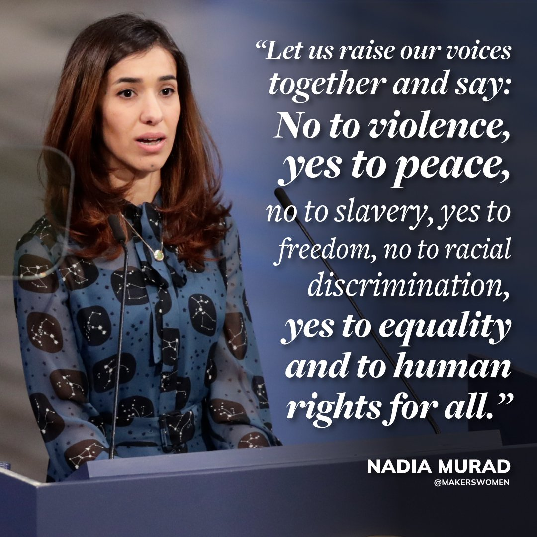 'I hope that today marks the beginning of a new era, when peace is the priority, and the world can collectively begin to define a new roadmap to protect women, children and minorities from persecution — in particular, victims of sexual violence.'