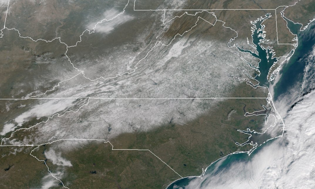 """Capital Weather Gang on Twitter: """"Seen from space: Snow cover cover  footprint of recent storm in Mid-Atlantic and abrupt cutoff over Northern  Virginia - from GOES East weather satellite.… https://t.co/3Z0vnAsCvp"""""""
