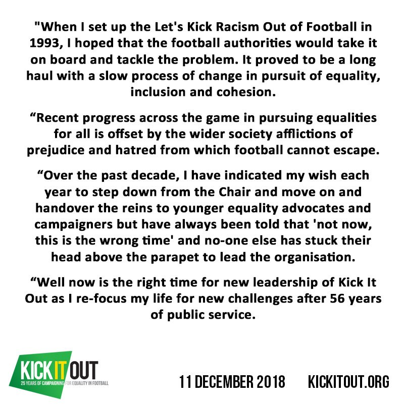 """""""There is so much to be done before I sign off next year, so onwards with the action while I prepare to hang up my boots.""""  Lord Ouseley, our Chair, has announced that after 25 years leading the organisation, he is stepping down at the end of the season: https://bit.ly/2RQEq0L"""