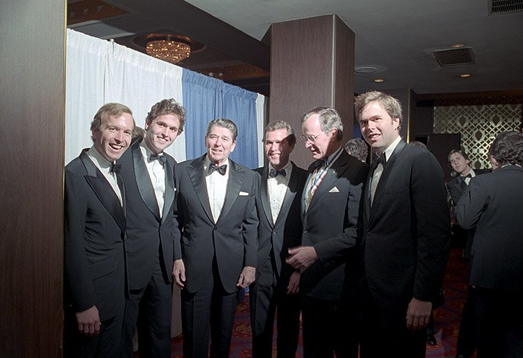 """""""The time has come to turn to #God and reassert our trust in Him for the healing of America - our country is in need of and ready for a spiritual renewal""""  ~ Ronald #Reagan, seen here with #Bush men  #40 #Bush41 #W #43 #JEB #CommanderInChief #HealAmerica #USA"""