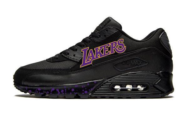 Los Angeles Lakers Print Nike AM90 Sneakers, Unisex, Black, #Lakers Purple #fridayfeeling  $299.99 ➤ https://goo.gl/t8v1ET