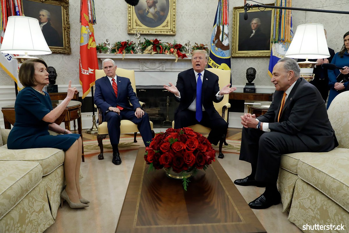President #DonaldTrump and VP #MikePence meet with Senate Minority Leader #ChuckSchumer and House Minority Leader #NancyPelosi in the Oval Office + more photos of the day shutr.bz/EditorsPicks | 📸 AP/Shutterstock