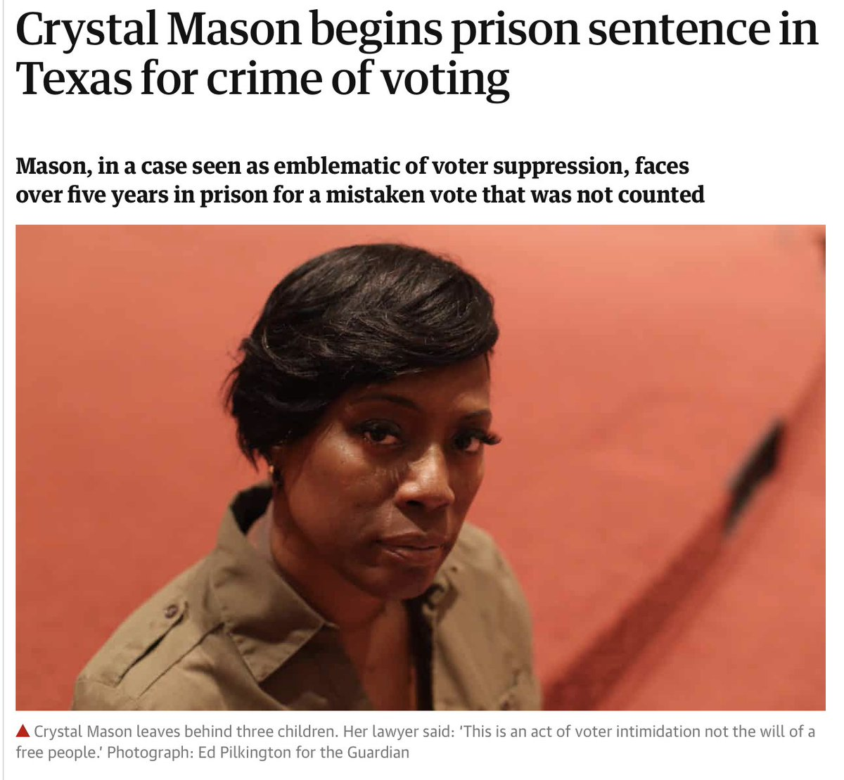 A tale of two Texans. Crystal Mason voted in 2016 while on probation: 5 years in prison. Jacob Anderson raped his classmate in 2016: probation & a $400 fine.