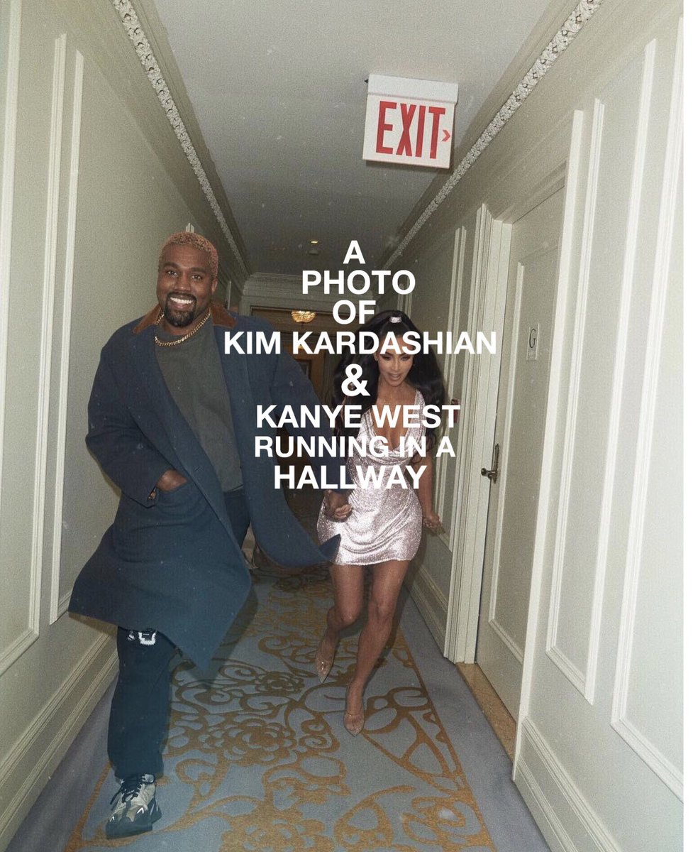 a photo of kim kardashian &amp; kanye west  running in a hallway <br>http://pic.twitter.com/UvHZnyfCHC