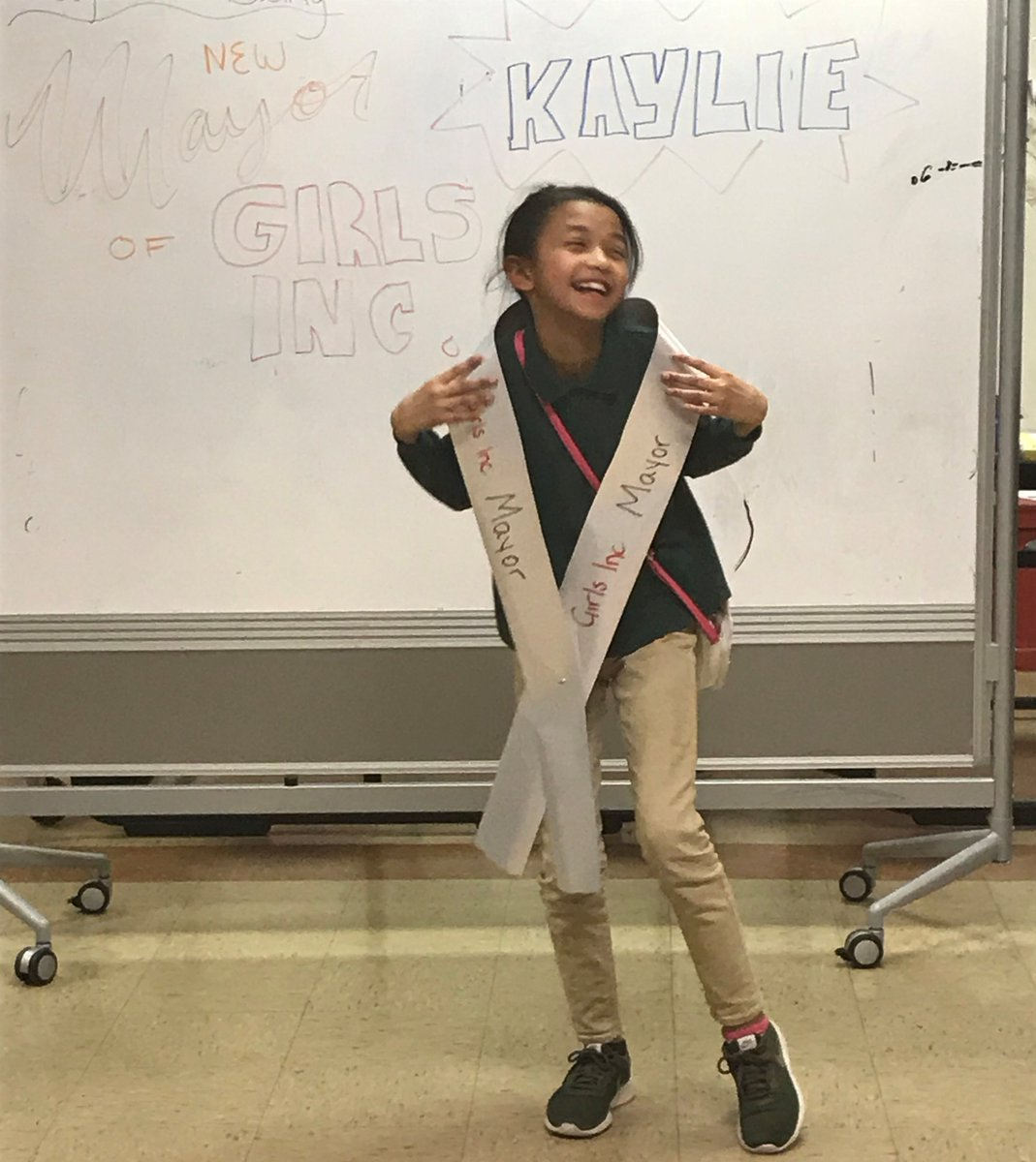 Wed like to present... @GirlsIncHolyoke Mayor Kaylie! She earned the votes of her fellow #GirlsInc peers in our #SheVotes curriculum. They learned not only about current events & candidates, but also public speaking skills. Congrats to all! #StrongSmartBold