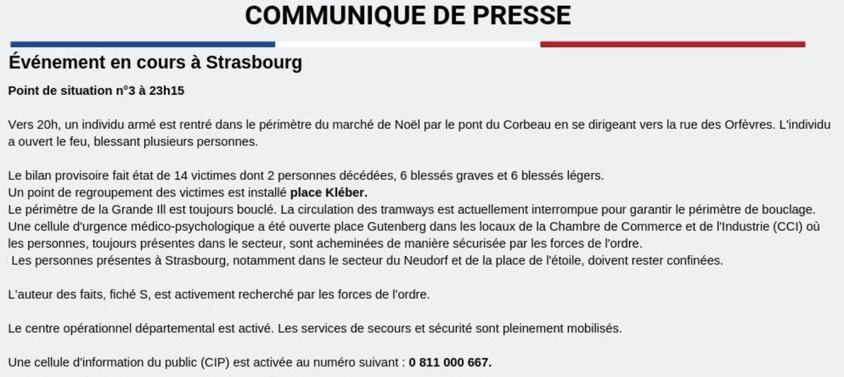 🇫🇷 Nouveau communiqué de la préfecture du Bas-Rhin faisant le point sur la situation à #Strasbourg parlant de 2 morts et précisant que les personnes présentes dans cette ville doivent rester confinées
