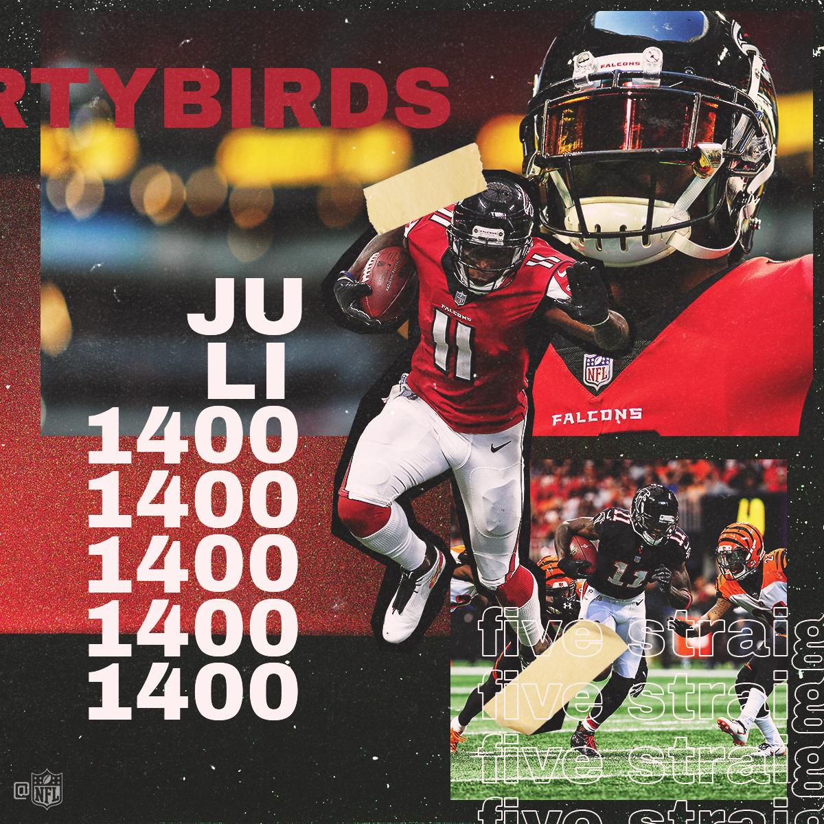 Players with FIVE straight 1,400-yard Receiving Seasons:  1. @juliojones_11 2. That's it. #InBrotherhood