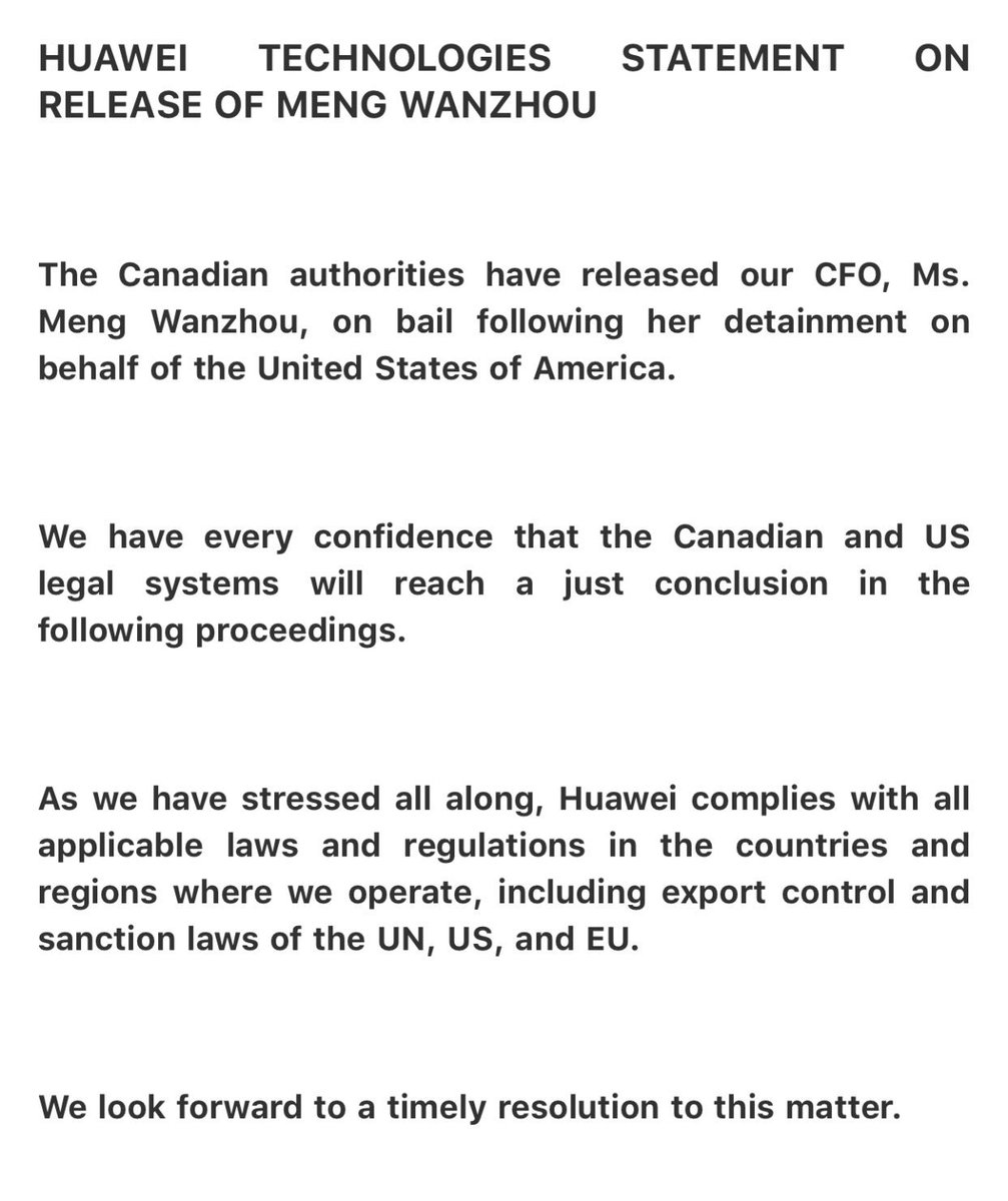 Statement from Huawei on Meng Wanzhou's release on bail: