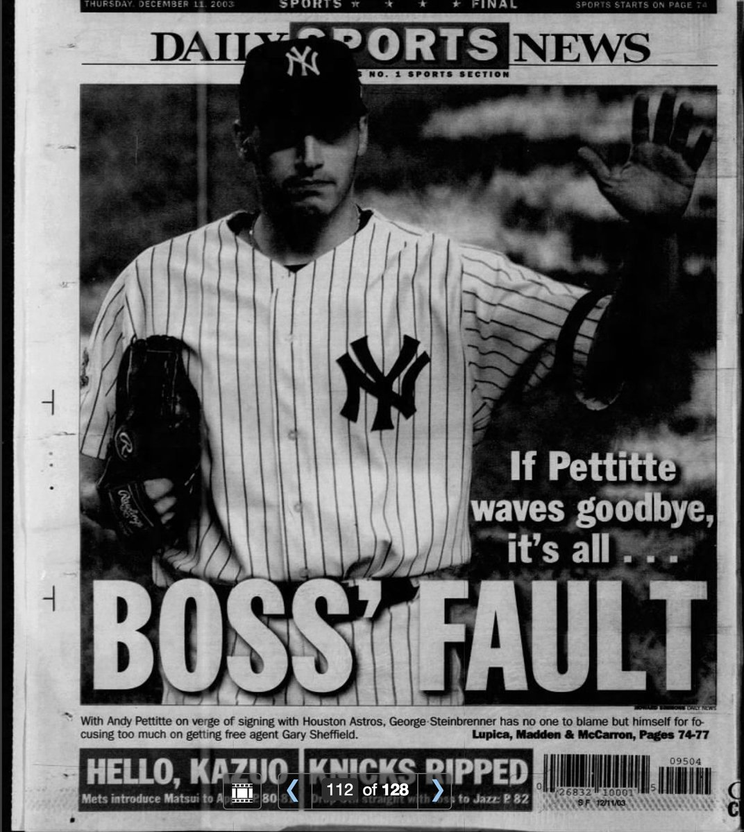 Ib  F0 9f 92 B5  F0 9f 94 8c On Twitter Backpage Ny Daily News 15 Years Ago Today 2003 Ny Yankees Lost Andy Pettitte To Astros Knicks Sucked As Usual 7  Years