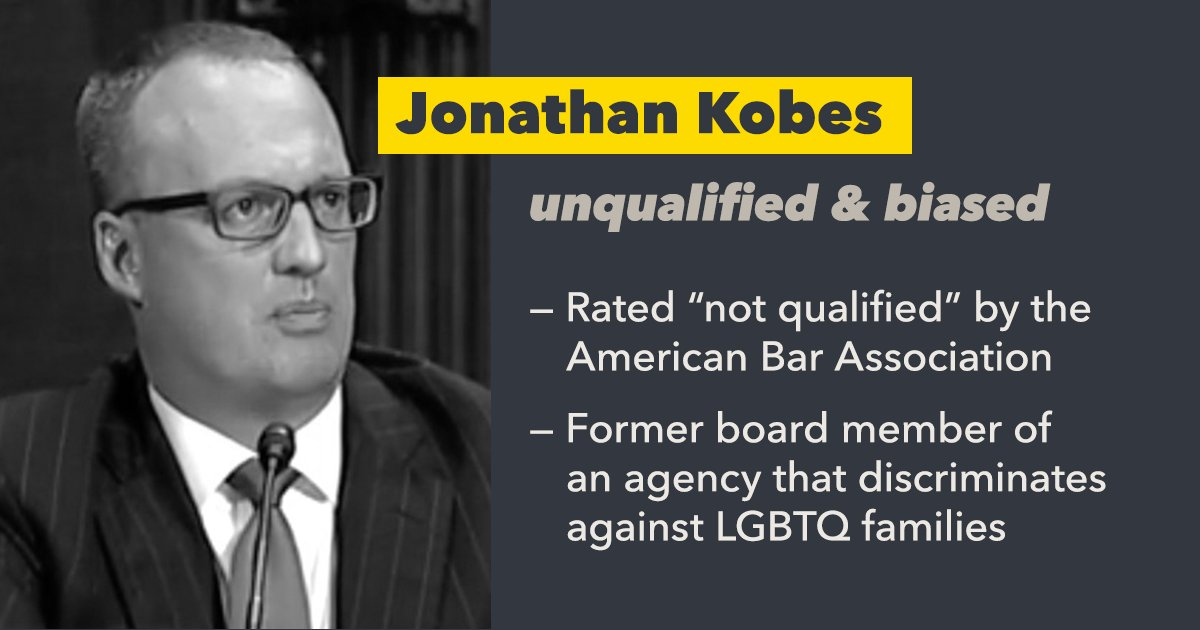 It's possible that the Senate could confirm extreme judicial nominee, Jonathan Kobes, as early as today.   #StopKobes before it's too late. Take 2 minutes and call your senator today: https://t.co/biD5ptsW4j