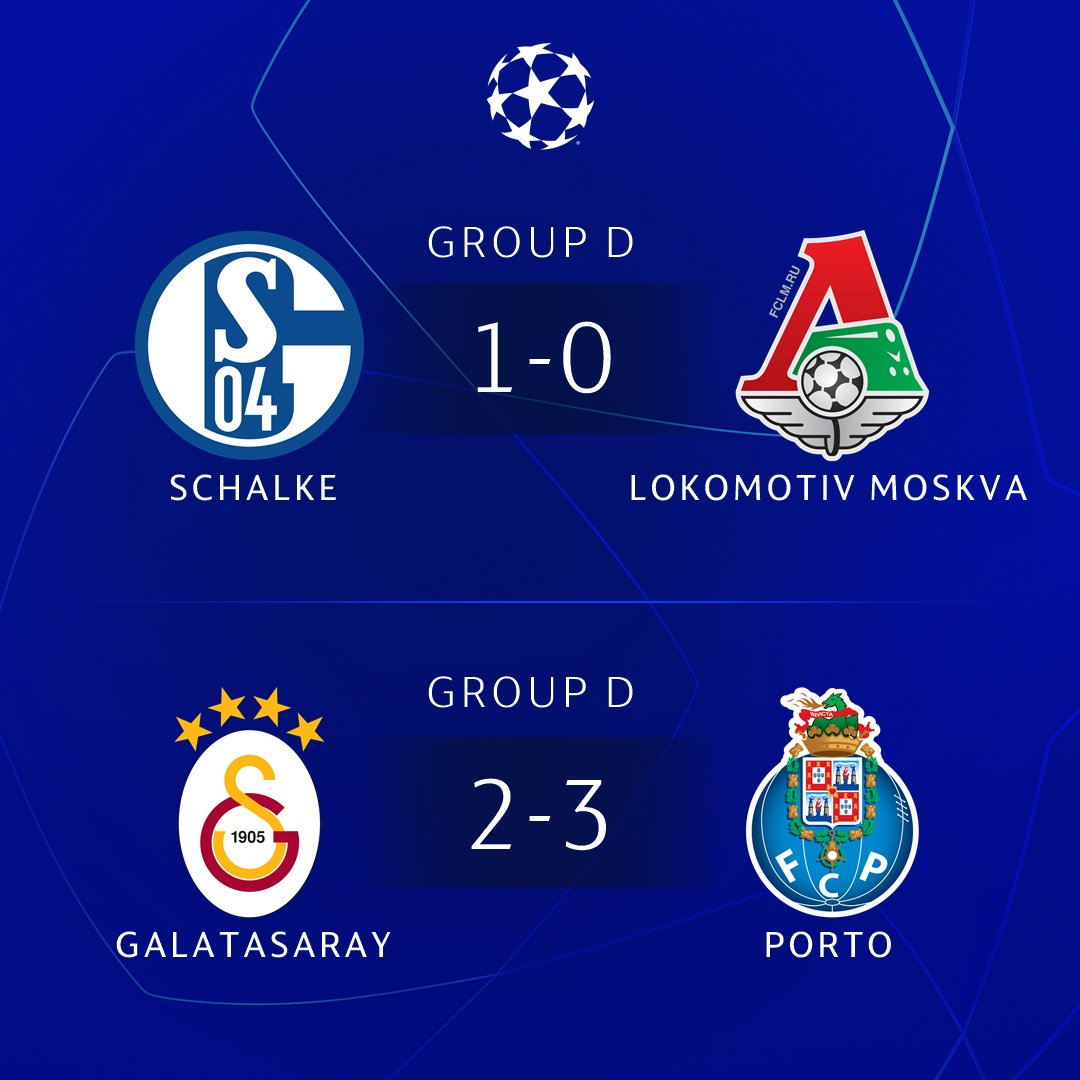 🔵⚪️ Unbeaten Porto top Group D; Schalke through as runners-up 💛❤️ Third-placed Galatasaray secure @EuropaLeague spot  #UCL