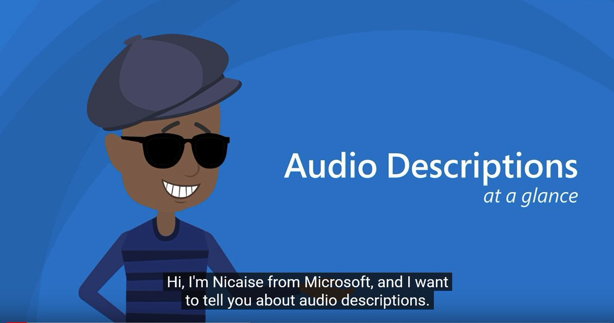 """snapshot from the Accessibility at a glance youtube series. This is a cartoon image of Nicaise Dogbo on the Microsoft Accessibility Team, with the title words 'Audio Descriptions at a glance', and CC at the bottom of the page saying 'Hi, I'm Nicaise from Microsoft and I want to tell you about audio descriptions"""""""
