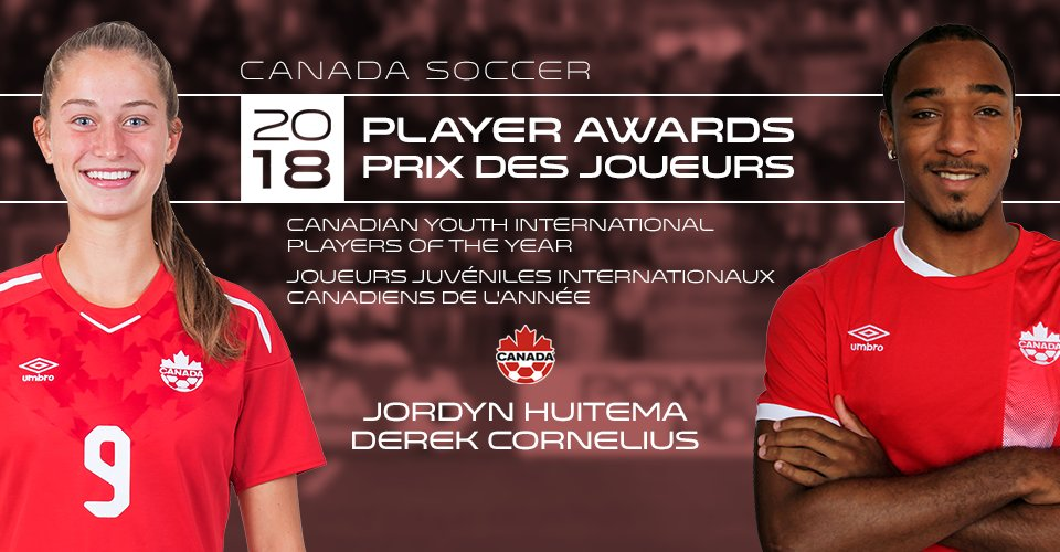 Derek Cornelius and Jordyn Huitema named Canada Soccer's Youth International Players of the Year https://is.gd/tqcG3m  #CanadaSoccer #DerekCornelius #JordynHuitema #YoungFootballers