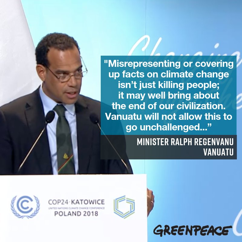 Some actual leadership on #climatechange out of #COP24! .@RRegenvanu
