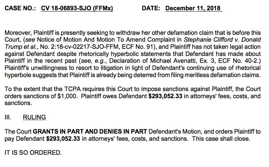 Judge orders Stormy Daniels to pay $293,052.33 in legal fees to Trump.