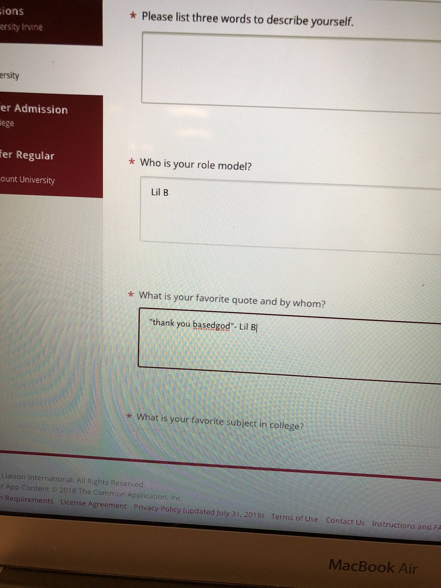 @LILBTHEBASEDGOD can you bless me with getting into college #tybg