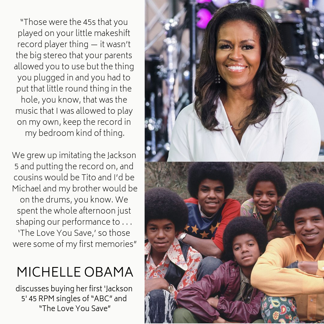 "Michelle Obama went on to share with @Questlove that the first records she purchased with her own money belonged to the Jackson 5, buying 45 RPM singles of ""ABC"" and ""The Love You Save"" to listen and dance to while alone in her room. Listen here:  https:// trib.al/cefINwP  &nbsp;  <br>http://pic.twitter.com/lMjQnshOYD"