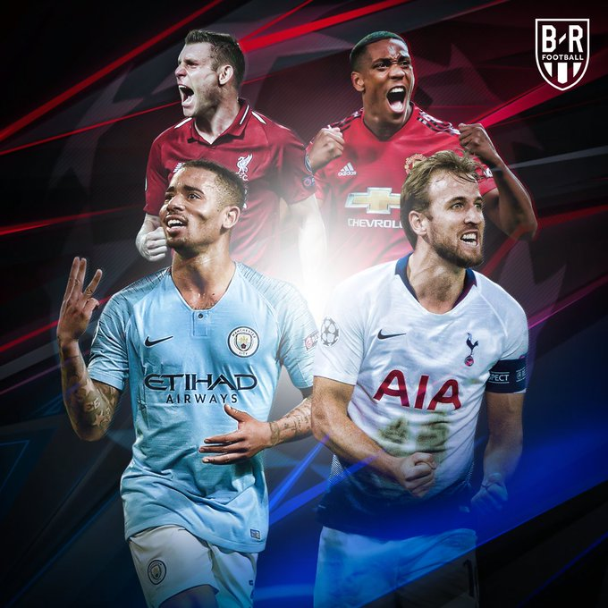 ✔️ City ✔️ United ✔️ Liverpool ✔️ Spurs All four Premier League teams advance to the last 16 of the Champions League 󠁿 Photo