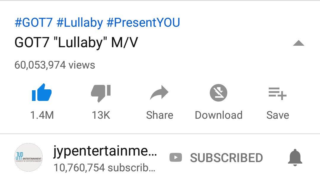 [!!] GOT7 &quot;Lullaby&quot; M/V reached 60M views~~~   https:// youtu.be/9RUeTYiJCyA  &nbsp;   #GOT7  #갓세븐  #PresentYOU  #Lullaby  @GOT7Official<br>http://pic.twitter.com/algYZUgSI8