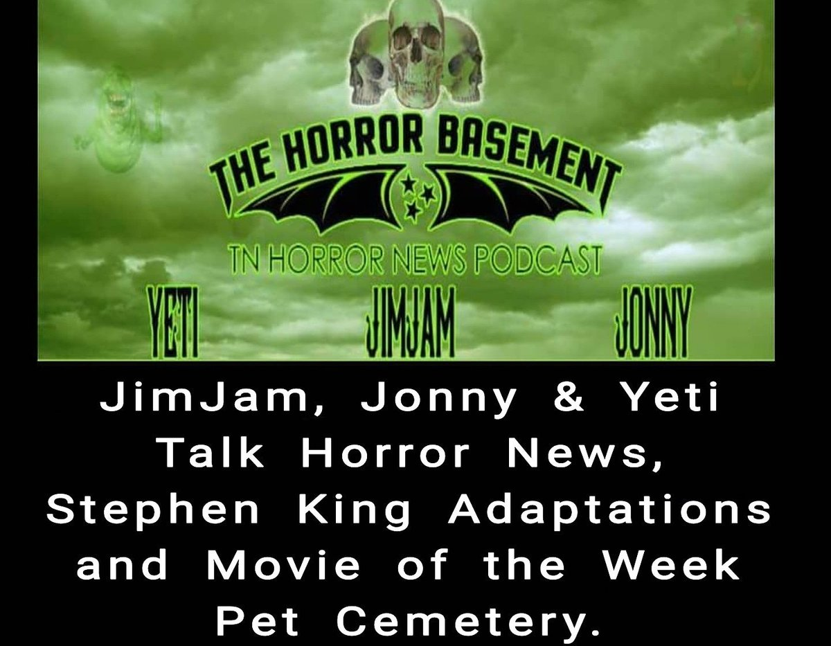 JimJam, Jonny &amp; Yeti Talk Horror News, Stephen King Adaptations and Movie of the Week Pet Cemetery. Podcast is live! #brightburn #residentevil #chickensblood #horror #indiehorror #stephenking #petsematary #horrorpodcast #indie #tnhorrornews<br>http://pic.twitter.com/UcMH17p9bS