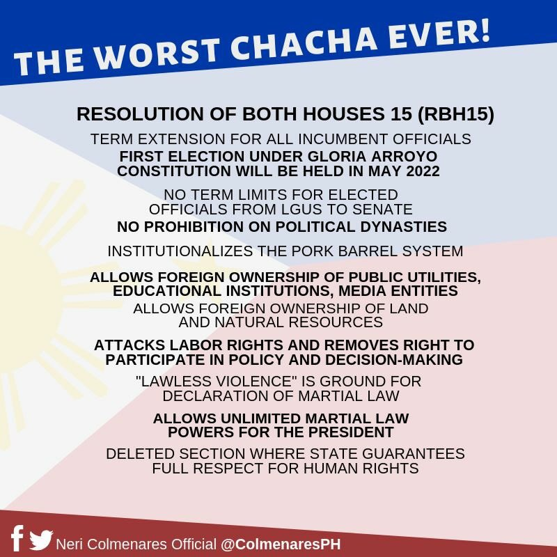 The Worst #ChaCha Ever wasnpassed by Congress last night. I will say it again: this Charter Change will condemn future generations to poverty. We must stand against it. #StopChaCha #NoToChaCha