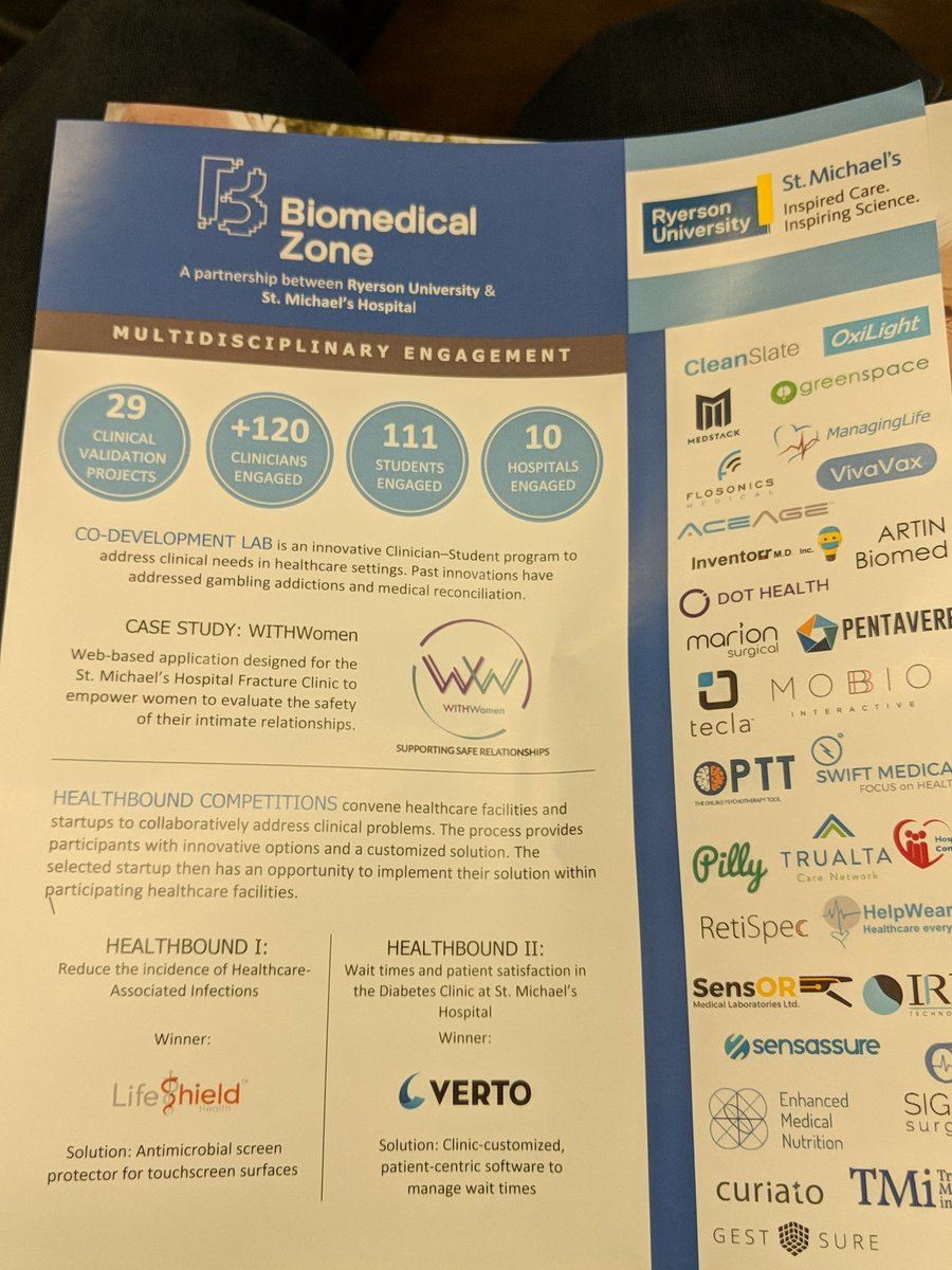 Interesting clinical validation of tech startups in the @BiomedicalZone in Toronto. #ryerson #smh #stmichaels #healthto