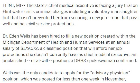 I just spit coffee all over my desk.  https://t.co/KlVW3vwj8o  The Michigan state health official currently facing criminal manslaughter charges in Flint water disaster was just appointed to a new job by outgoing Republican Gov Rick Snyder. Look at this: