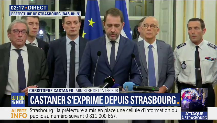 EN DIRECT - #Strasbourg @CCastaner : 'L'homme a tué 3 personnes, blessé 12 autres dont 6 grièvement' ✏ https://t.co/OrZjDOd4jP 📺 https://t.co/VCLLBi3aQR