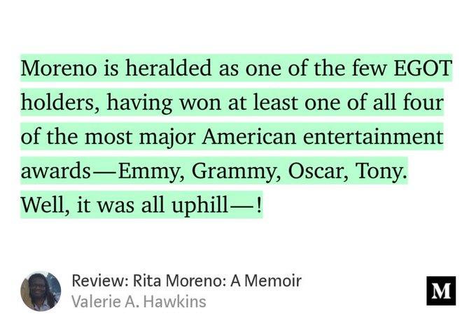 """My book review of \""""Rita Moreno: A Memoir\"""" - Happy birthday -"""