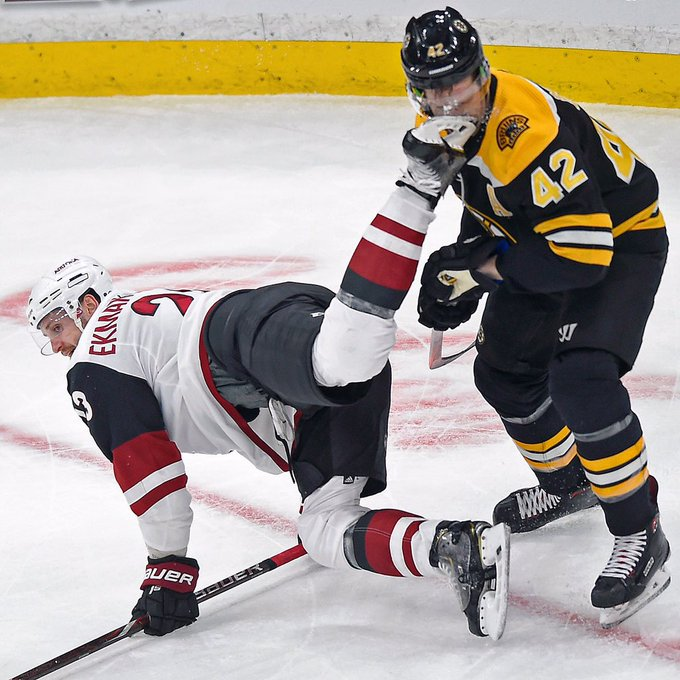 Bruins' David Backes takes a skate to the face from Coyotes' Oliver Ekman-Larsson during the first period. Backes returned to the game after a trip to the dressing room @bostonherald Photo