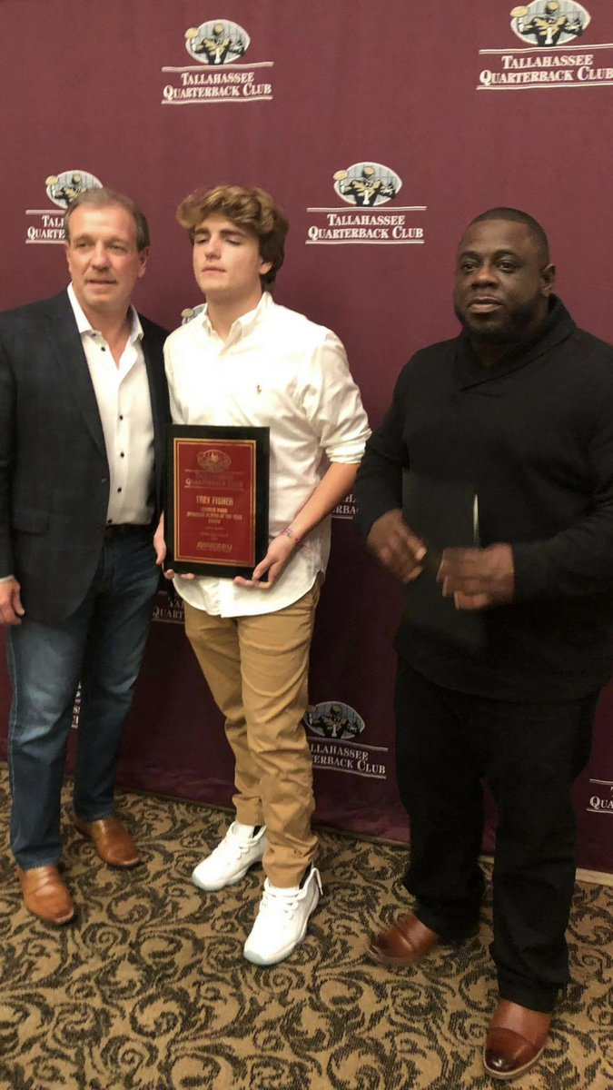 Recordbreakerz Qb @Tfisher187 has been named the Tallahassee Quarterback Club Player Of The Year This kid is the definition of humble he was so appreciative of the honor and gave all the praise to his coaches parents and teammates. <br>http://pic.twitter.com/7W70XZg8mE