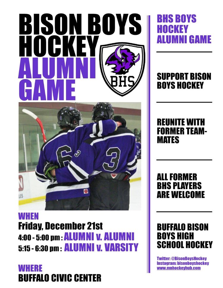 fef99bbf287 2018-2019 Bison Boys Hockey Alumni Game. Retweet to share with friends. All  alumni are welcome. #BisonPridepic.twitter.com/p6DDSgaS82