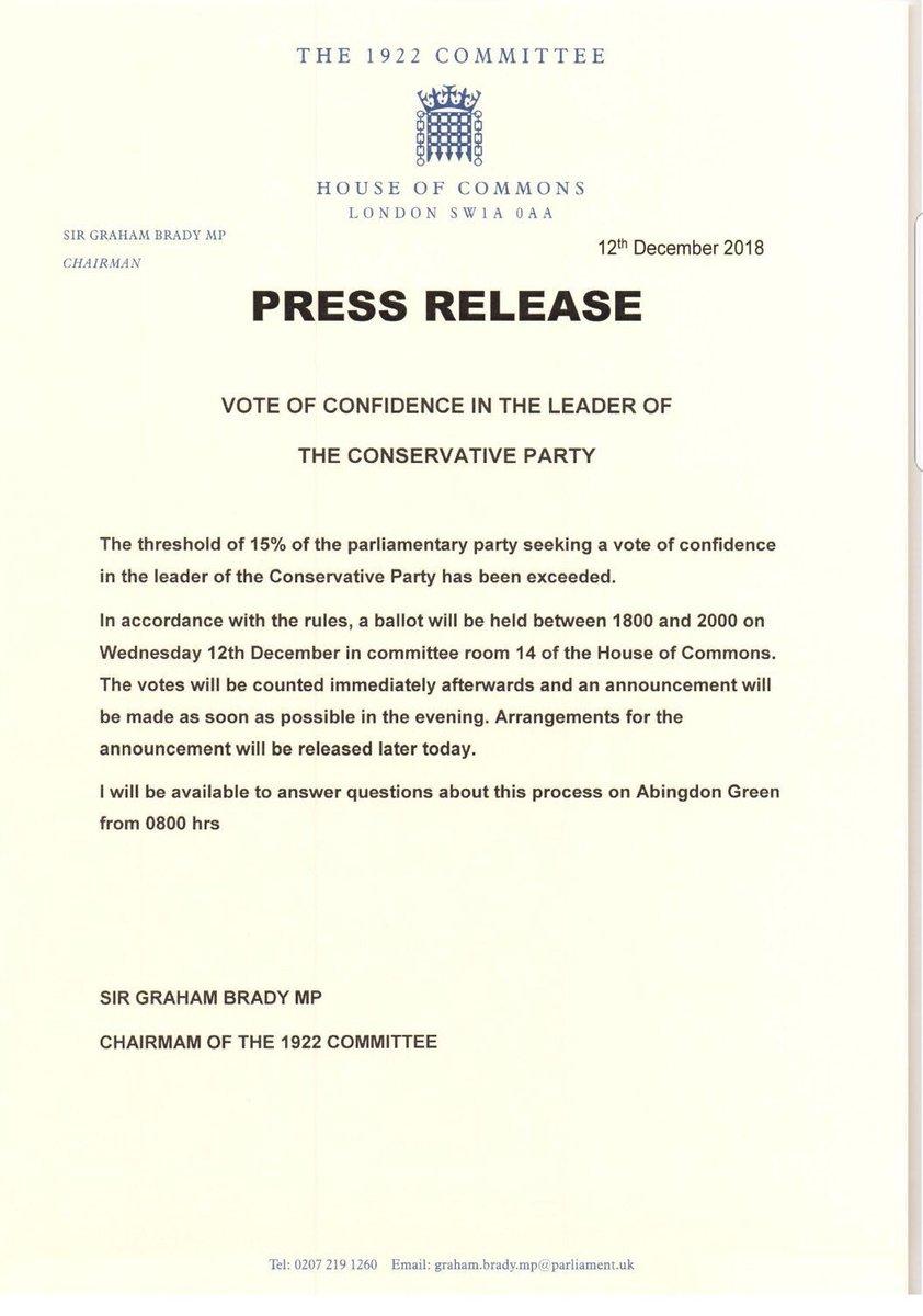 BREAK: Vote of confidence in British PM triggered - ballot tonight... 👇🏻