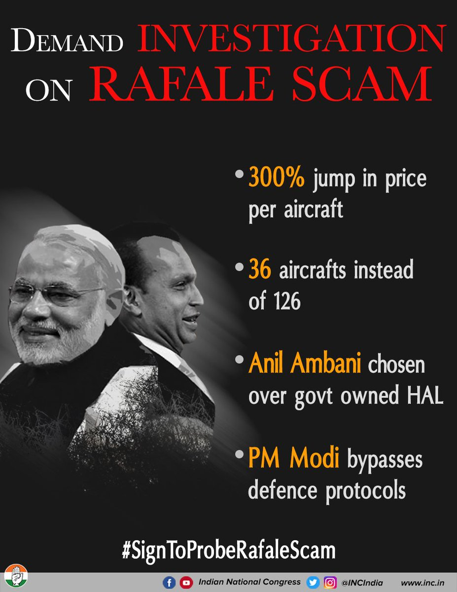 People of India have given a clear mandate to 'chowkidar' we will not stand for corruption & crony capitalism.  We demand a Joint Parliamentary Committee investigate . Pl#RafaleScamease sign this petition to bring back transparency    #SignToProbeRafaleScamhttps://t.co/UCyVlse9a0