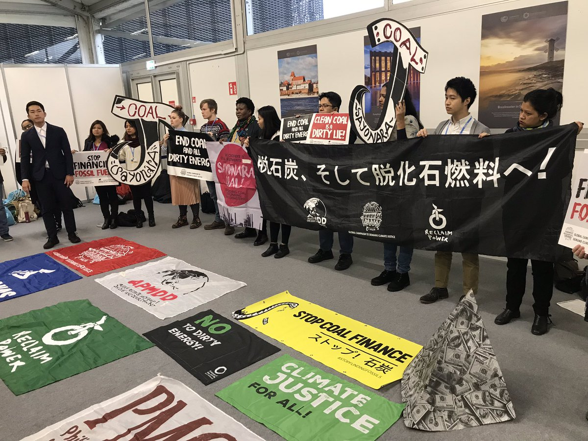 """STOP FUNDING COAL. STOP FUNDING CLIMATE DISASTERS!"" Japanese and Global South activists joining together to demand an end to dirty energy finance fueling #climate chaos. This is what solidarity looks like. #Sayonaracoal #StopFundingFossilFuels"