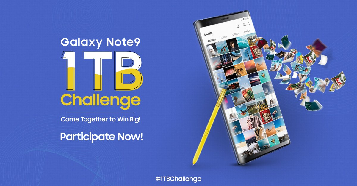 It's LIVE, India! This is your time to shine and take away three 1 TB Ready #GalaxyNote9 phones! What will it take to fill it up? #1TBChallenge Send us as many images, videos and audio files on whatsapp by clicking on:  https:// bit.ly/2Sq2FCO  &nbsp;  <br>http://pic.twitter.com/ZOK9umdbC0