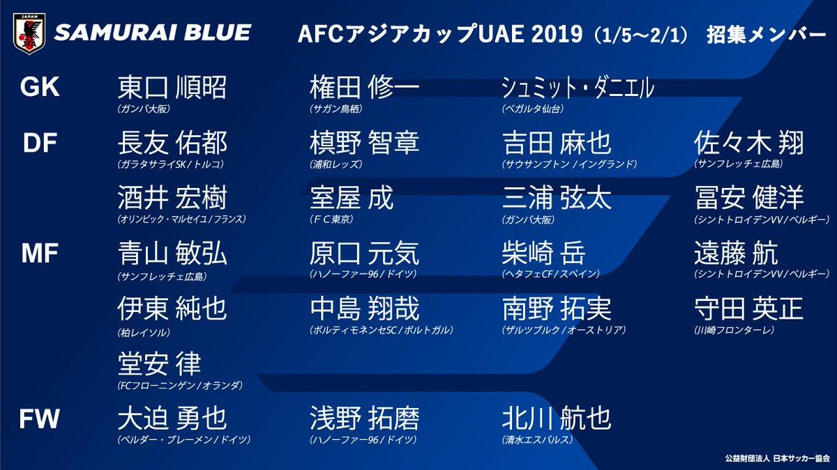 AFCアジアカップUAE2019(1/5~2/1)SAMURAI BLUEメンバー  👇メンバー発表会見をインターネットライブ配信中! https://t.co/opDQ5KZwPw  Group F 2019/1/9 🆚トルクメニスタン🇹🇲  2019/1/13 🆚オマーン🇴🇲   2019/1/17 🆚ウズベキスタン🇺🇿  #AsianCup2019 #SAMURAIBLUE #daihyo