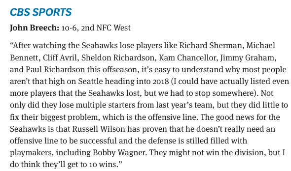 Everybody is ripping everybody nationally for having no faith in the Seahawks heading into the season. And then I see what my man John Breech said about them in September: <br>http://pic.twitter.com/y76ZuekSC8