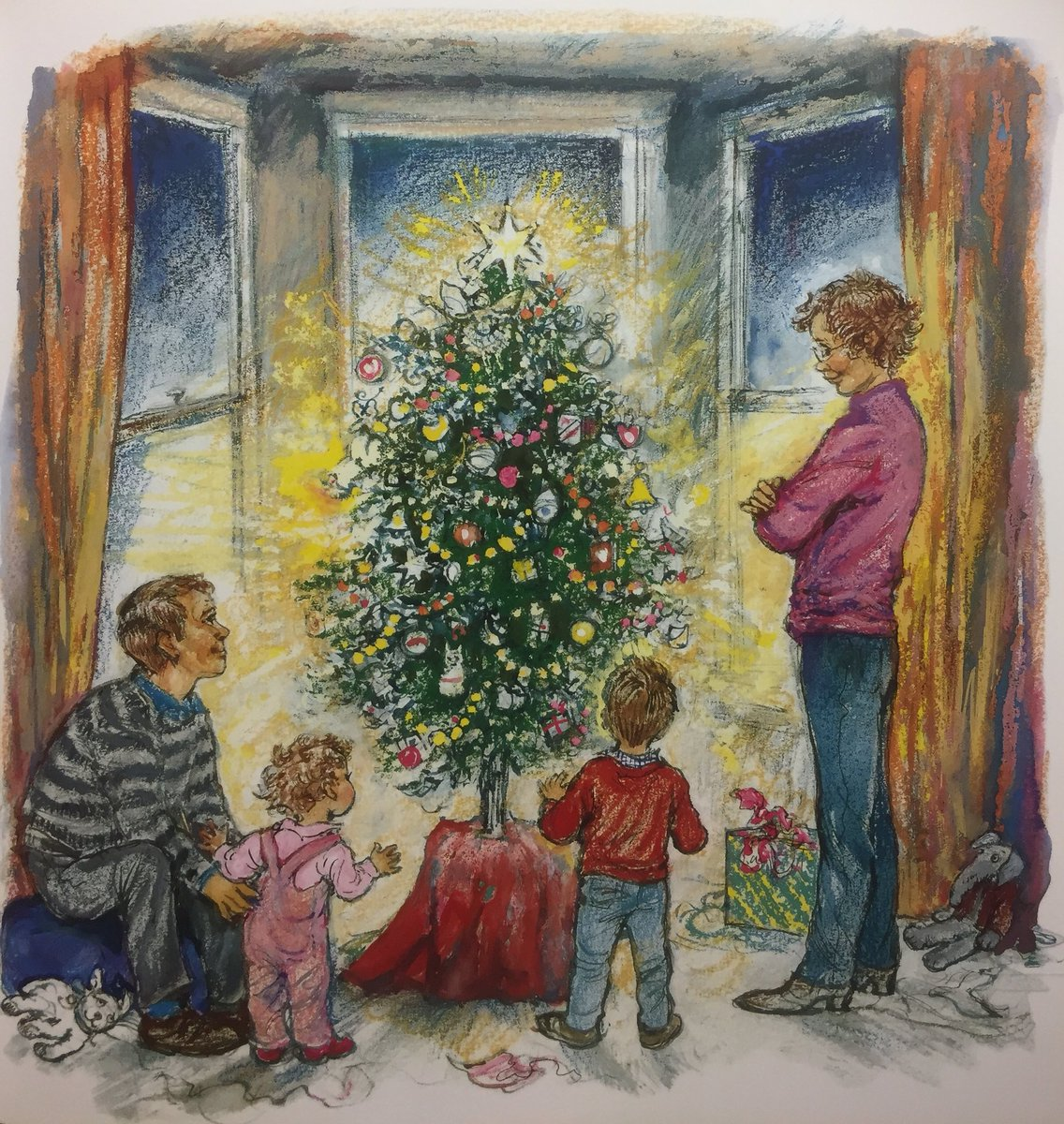 Dad fetched the big box of decorations from the attic. They spent a lot of time arranging them on the tree. When they had finished, they switched on the fairy lights and left the curtains open so that all the people passing could see it.   Alfie's Christmas