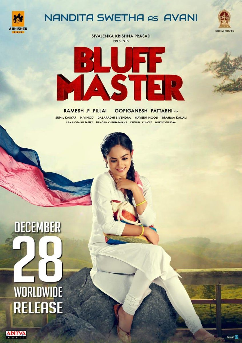 Introducing @Nanditasweta as Avani from #BluffMaster. Watch out for her on December 28th in your nearest Theaters. #BluffMasterOnDec28 @ActorSatyaDev @MeGopiganesh #RameshPillai @abhishek_films @krishnasivalenk @brahmakadali @kasyapsunil6 @PulagammOffcl
